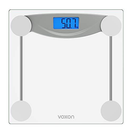 VOXON Báscula de Baño Digital Escala Electrónica con Pantalla LCD Retroiluminada, Alta Precisión Escala de Peso, Máximo 180KG, Escala para Baño, Gimnasio, Salón, Vidrio Transparente