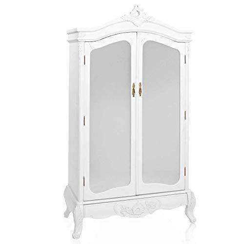 Pureday Kleiderschrank Barock mit Spiegel und Schublade 2-türig weiß