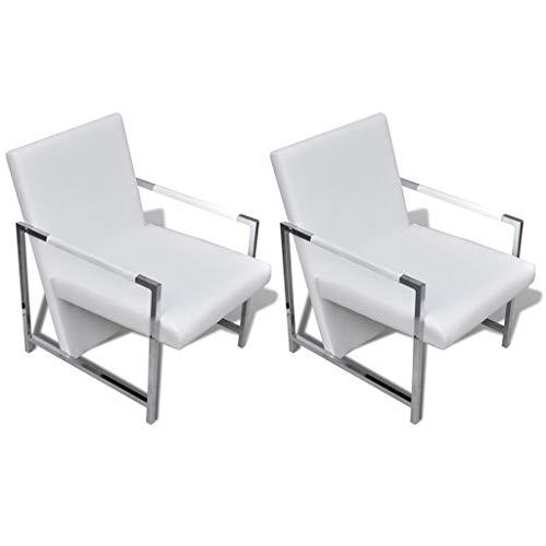vidaXL 2X Sillones Modernos con Patas Cromadas Tapizado Blanco Asientos Salón