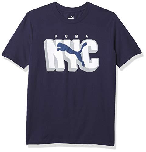 PUMA City Attack NYC Logo tee Camiseta, Abrigo de Marinero, M para Hombre