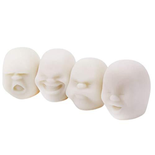 ABOOFAN 1 conjunto de 4 unidades de brinquedos de alívio de estresse de escritório TPR bola facial brinquedos de bola de aperto (branco)