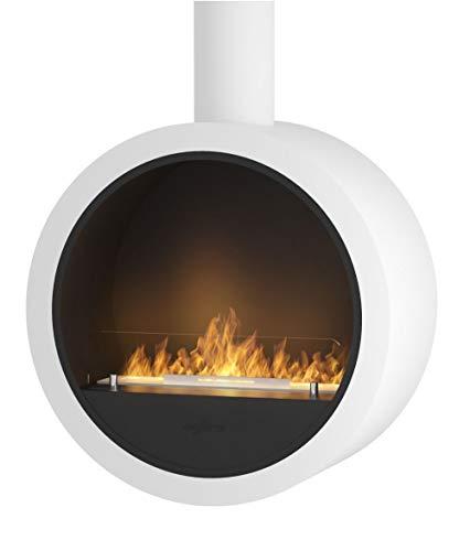 Design Kamin Sined Fire Incyrcle mit Bioethanol Brenner Befestigung an Wand oder Decke Moderner Wand- und Hänge-Biokamin aus pulverbeschichtetem Stahl Weiss seidenmatt