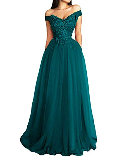 Prom Dress Lace Formal Evening Gowns Long Off Shoulder Prom Dresses Tulle Lace Evening Party Dress Appliques