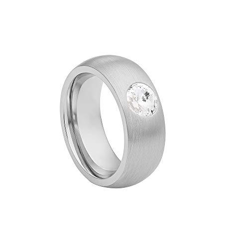 Heideman Ring Damen Coma 8 aus Edelstahl Silber Farben matt Damenring für Frauen mit Swarovski Stein Zirkonia Weiss schwarz oder bunt im Fantasie Edelstein Schliff Crystal Gr.66 hr9108-4-1-66