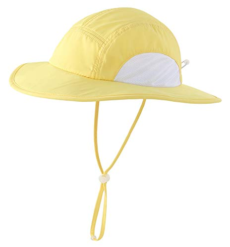 Home Prefer Girls Sun Protective Hat Wide Brim Mesh Bucket Hat for Outdoor Beach Hat UPF50+ Yellow