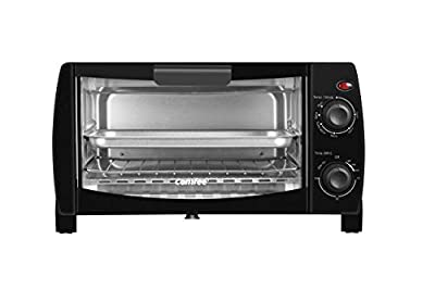 COMFEE' Toaster Oven Countertop, 4-Slice, Compact Size, Easy to Control with Timer-Bake-Broil-Toast Setting, 1000W, Black (CFO-BB101) (Renewed)