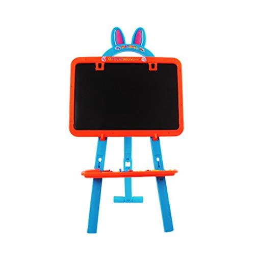 Kinder-Staffelei, doppelseitig, für Whiteboard und Kreidetafel, mit verstellbarem Ständer, für Kinder, Schreiben, Zeichnen, Spielzeug (Farbe: Blau, Größe: 96 x 37 cm)