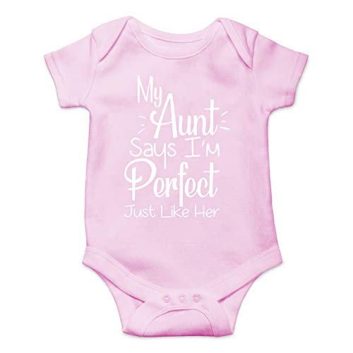 My Aunt Says Im Perfect Just Like Her One-Piece Baby Bodysuit Funny Cute Infant Creeper