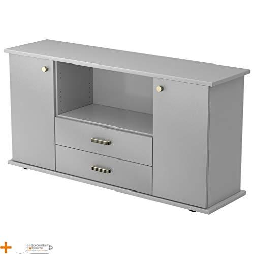 Kantoormeubel Expert dressoir kantoorkast archiefkast houten deuren 3 planken Streifengriff Lichtgrijs-zilver