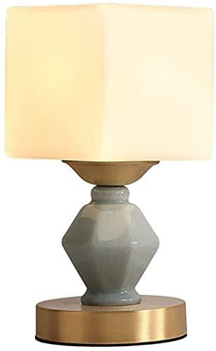 Rnwen Pantalla de lámpara de Cristal translúcido Blanco Moderno y Simple Pantalla de Material cerámico Verde Claro lámpara de Mesa de Noche de Matriz de Cobre Entero lámpara de iluminación lámpara de