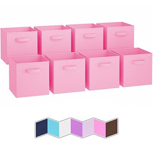Scatole Contenitori   Set Di 8 Cubi Contenitori Per Armadio In Tessuto Con 2 Maniglie   Scatole Per Armadio Porta Oggetti   Cubi Portaoggetti Pieghevoli   Cubo Contenitore Quadrato [Rosa Chiaro]