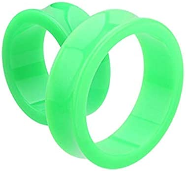 Supersize Neon Colored Acrylic Double Flared Ear Gauge Tunnel Plug 1 7 8 48mm Green product image