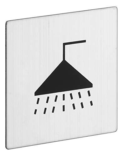 ROSTEX Edelstahl Kennzeichnungs Schild Dusche/Sanitär Eckig - Piktogramm selbstklebend quadratisch