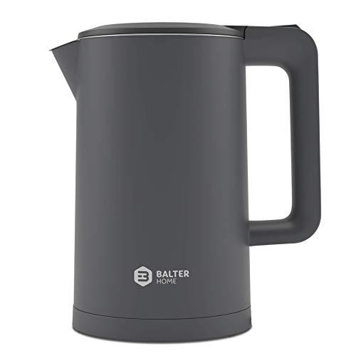 Balter Wasserkocher Edelstahl WK-4, 1,7 Liter, elektrischer Wasserkocher, Doppelwand Design, BPA frei, LED, kabellos, Teekocher Kompakt, leise, Grau