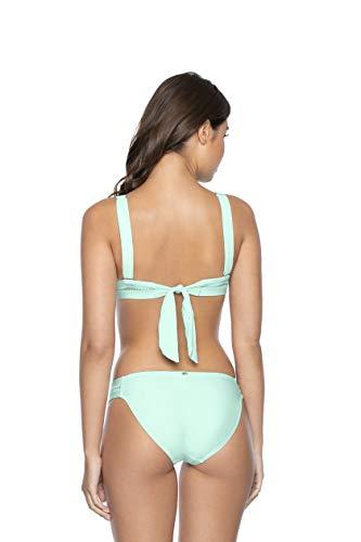 PQ Swim Women's Azura Stitched Tab Bikini Bottoms - Moderate Rise, Fuller Coverage - Full, Large
