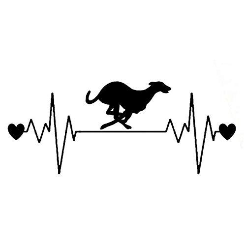 BDDLLM Autoaufkleber 16,5 cm * 6,7 cm schöne Hunderennen Whippet Herzschlag Linie Vinyl schwarz/Silber Auto Aufkleber C22-1176schwarz