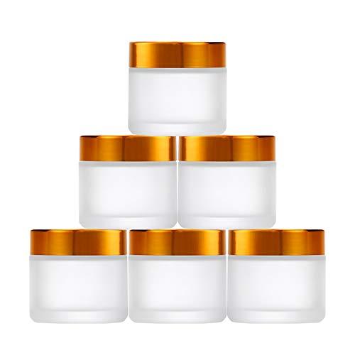 6 Stück Leer Glas Cremedosen,Matt Glas-Tiegel Mit Innen Deckel Zur Cremedosen Ideal für Hausgemachte Kosmetik