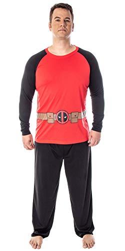 Marvel Men's Deadpool Costume Raglan Long Sleeve Top and Pants 2 Piece Character Pajama Set (LG)