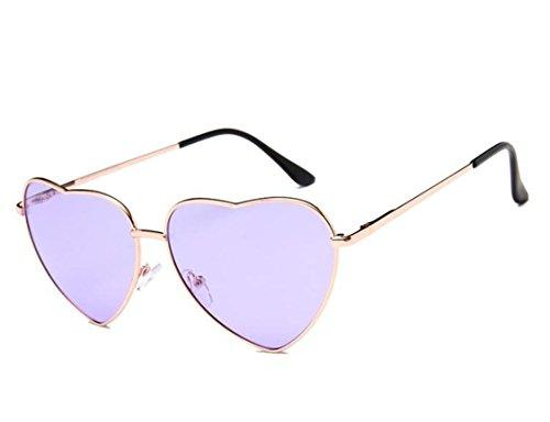 Flowertree Women's S014 Heart Aviator 55mm Sunglasses, Purple, Medium