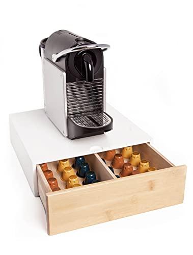 FMC SOLUTIONS Cassetto Porta Capsule o Cialde Compatibili Nespresso e Dolce Gusto, Bustine e Accessori - Portacialde in Legno Massello, 31x30x10cm (Bianco)