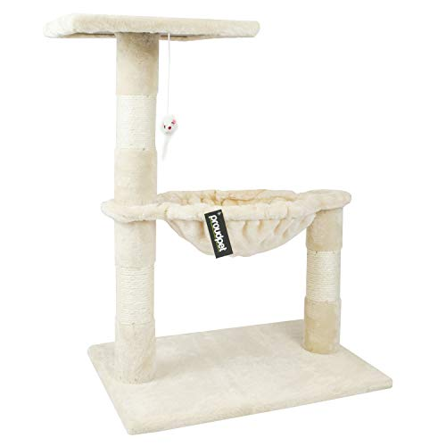 proudpet Cat Tree Hammock Style Scratch Post Tower (Beige)