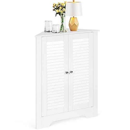 COSTWAY Corner Storage Cabinet with Double Shutter Doors and Adjustable Shelf, Floor Standing Organiser Cupboard Sideboard Unit for Kitchen Living Room Bathroom