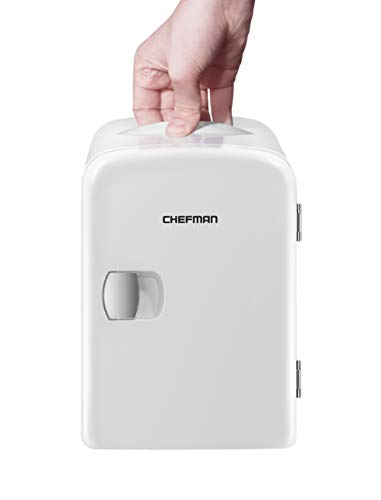 Chefman Mini Portable White Personal Fridge Cools Or Heats & Provides Compact Storage For Skincare, Snacks, Or 6 12oz Cans W/ A Lightweight 4-liter Capacity To Take On The Go