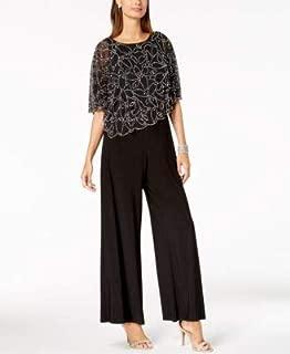 MSK Womens Black Beaded Cape Short Sleeve Jewel Neck Wide Leg Jumpsuit US Size: M