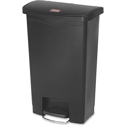 Rubbermaid Commercial Products 1883611 StepOn Cestino in Resina, Anteriore Passo, 50 L, Nero