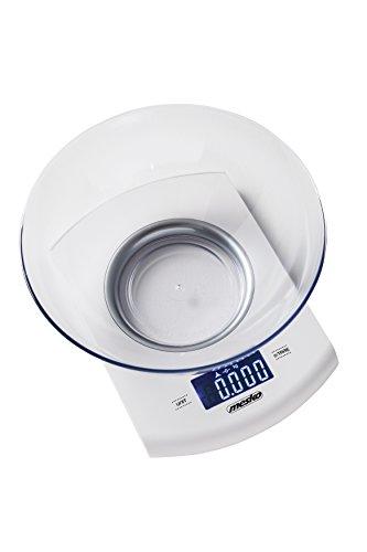 Mesko MS 3163 elektronische keukenweegschaal met kom 2 l, max. Draagkracht 5 kg, digitale weegschaal met tarrafunctie, hoge precisie tot 1 g, automatische uitschakeling, wit