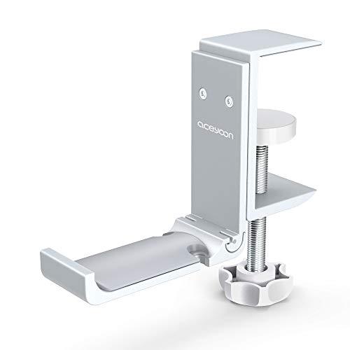 aceyoon Headset Stand Argento Universal Stand Cuffie Scrivania Pieghevole in Alluminio SupportoCuffie Gaming Regolabile e Girevole Morsetto per Tutte Le Cuffia