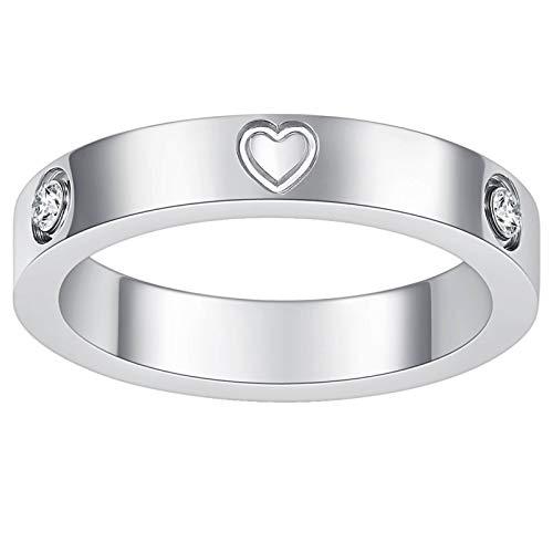 Nireus Love Heart Friendship Ring, 18K Gold Plated Titanium Steel Band Rings for Women Girls