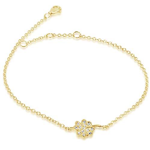 MILLE AMORI ∞ Pulsera Mujer Oro y Diamantes , longitud ajustable 18/17/16 cm - Oro Amarillo 9 Kt 375 ∞ Diamantes 0.06 Kt
