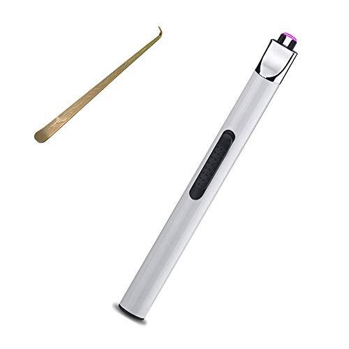 Mechero De Arco Electrico USB Recargable, Sin Llama Prueba De Viento Encendedor con Gancho De Fuego, para Cocina,Velas,Cigarrillos,Regalo Hombre (Color : White)
