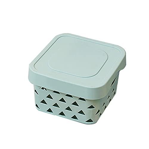 Storage Baskets - Plastic Storage Baskets with Lid Handle Pantry Organizer Basket Bins for Kitchen Organization Countertops Cabinets