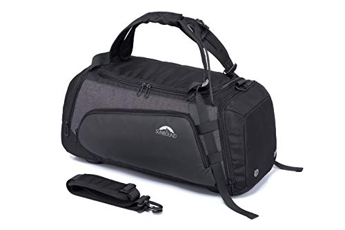 SUNBOUND Sporttasche Reisetasche Fitnesstasche Trainingstasche Travel Bag & Duffel Bag mit Schuhfach & Nassfach Schultergurte Rucksack Handgepäck Wasserdicht Gym Sport Männer & Frauen (35 L Schwarz)