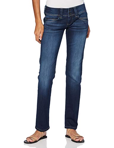 Pepe Jeans Damen Venus Straight Jeans, Blau (Powerful Dark Used 000), One Size (Herstellergröße: W27/L34)