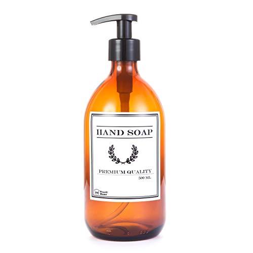 PH practi Home Dispensador Jabón de Cristal Ámbar 500 ml, Botella de Vidrio con Dosificador para Manos Hand Soap