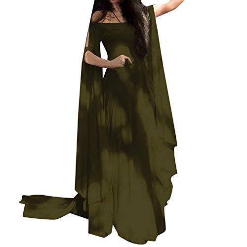 YEBIRAL Damen Übergröße Langarm Renaissance Mittelalter Kleid Bodenlänge Gothic Maxikleid mit Schmetterlingsärmeln Cosplay Party Festlich Karneval Kostüm