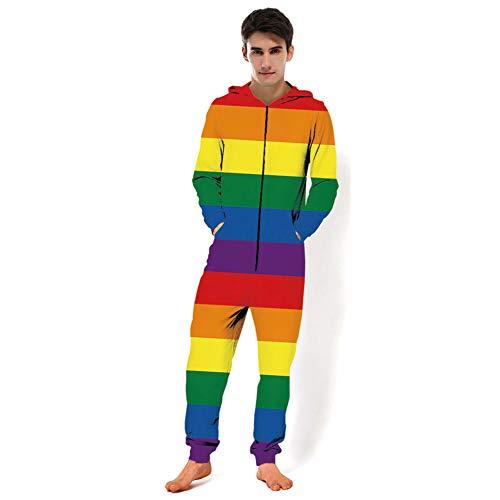 MXX Regenboog Stijl 3D Gedrukte Hooded Sweater, Unisex Lange Mouwen, Alles in een Stuk Pyjama's, Sportkleding, Tops en Broek, Paar Kostuums voor volwassenen