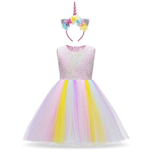 IBTOM CASTLE Fiore Ragazze Costume Unicorno Abito Principessa Cerimonia Carnevale Cosplay Ballo Abito Arcobaleno Lustrino 7-8 Anni