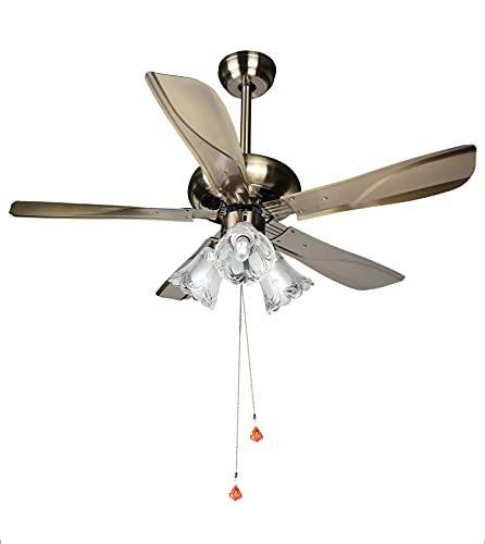 starLED, ventilatore da soffitto in rame vintage, ventilatore silenzioso con luce, ventilatore lusso antico a stile decorativo (Rame)
