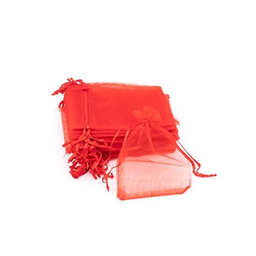 VARIOUS - 144 sacchetti di organza 9 x 13 cm, sacchetto organza per regali., colore: rosso, cod. Rojo