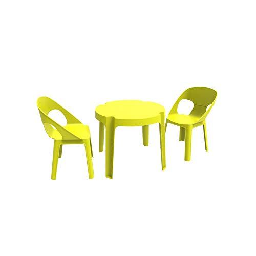 resol Rita set infantil de 2 sillas y 1 mesa para interior, exterior, jardín - color verde lima