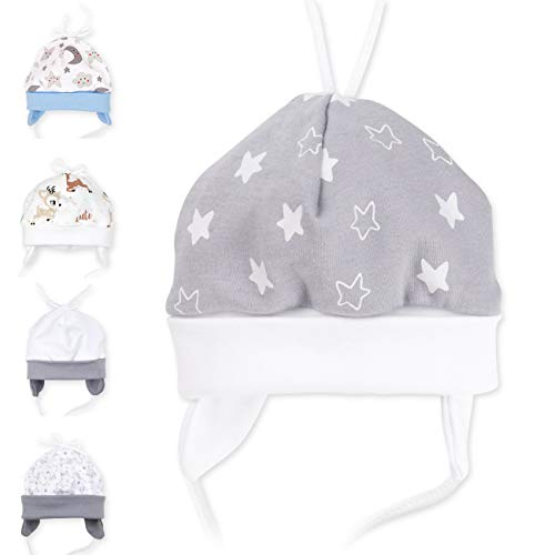 Baby Sweets Unisex Baby Mütze für Mädchen und Jungen in Grau Weiß als Erstlingsmütze im Elefant-Motiv/Babymütze für Neugeborene & Kleinkinder zum Binden in der Größe: 3 Monate (62)
