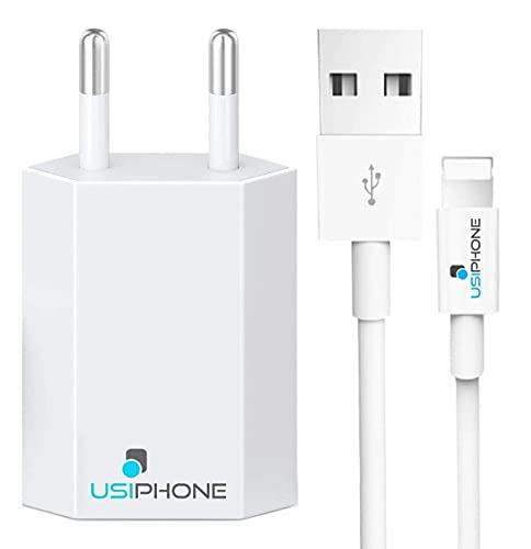 Chargeur Rapide Câble USB 1M Secteur Mural Blanc (5W 5V 1A) Embout Prise Adaptateur - Cordon 1 Mètre Ultra Résistant Compatible avec iPhone 12 11 Pro XS Max XR X 8 7 6s 6 Plus 5 Se