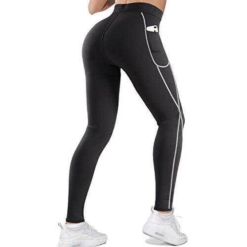 LANCS Women Sauna Sweat Leggings High Waist Slimming Pants Tummy Control Neoprene Compression Workout Tights with Pocket (Black, 3X-Large)