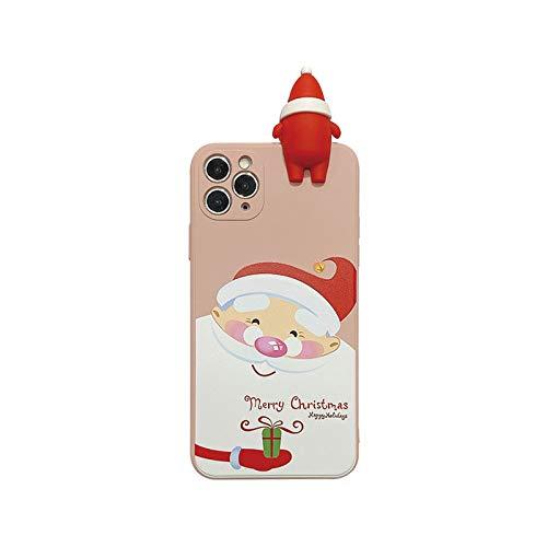 3D Weihnachten Cartoon Schneemann Hirsch Handyhülle für iPhone 12 11 Pro Max XR XS Max X 7 8 Plus SE 2020 Square Liquid Silikon Cover-T7-for iPhone XR