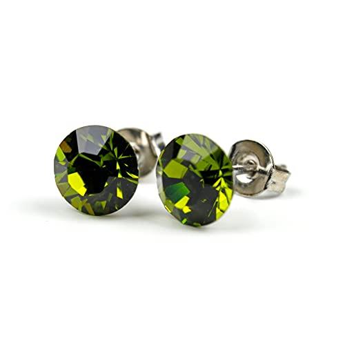 Pendientes de cristal de Swarovski de 7 mm – olivina