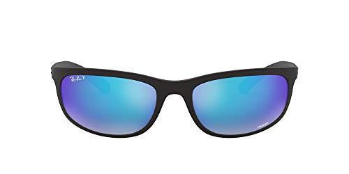 Ray-Ban RB4265 Chromance Mirrored Rectangular Sunglasses, Matte Black/Polarized Blue Flash Mirror, 62 mm